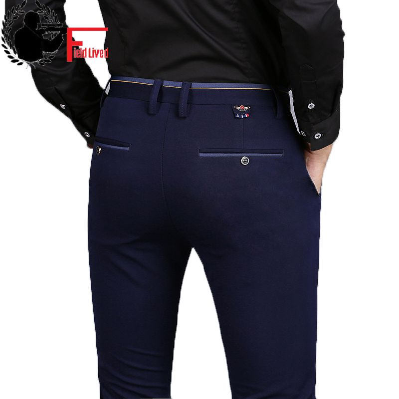 2019 Spring Non Iron Dress Men Classic Pants Fashion Business Chino Pant Male Stretch Slim Fit Elastic Long Casual Black Trouser