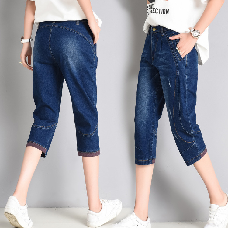 Plus Size 5XL Summer High Waist Jeans Woman Capris casual Loose Harem Pants Trousers Women Stretch Denim Short Jeans in Jeans from Women 39 s Clothing