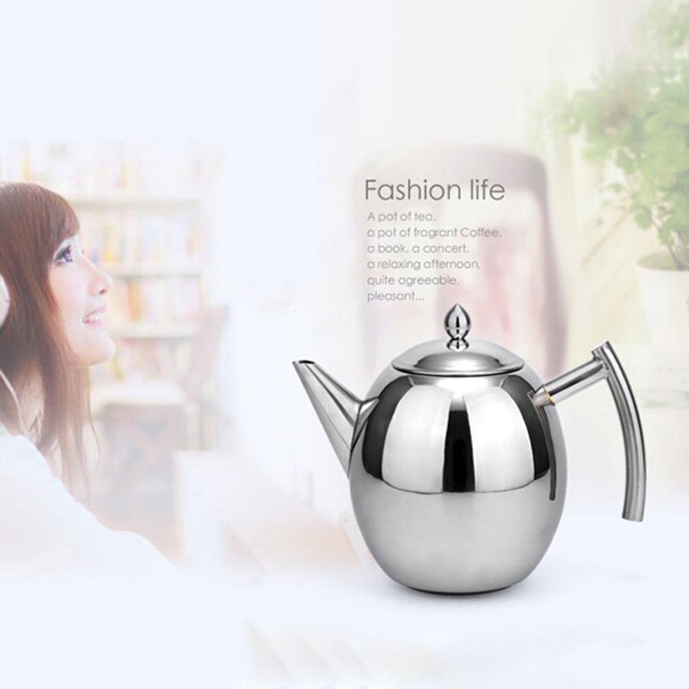 1L 1 5L Stainless Steel Coffee Pot Kettle Teapot Tea Coffee Maker Kitchen Mocha Espresso Latte Stove Drink Tools Accessories in Coffee Pots from Home Garden