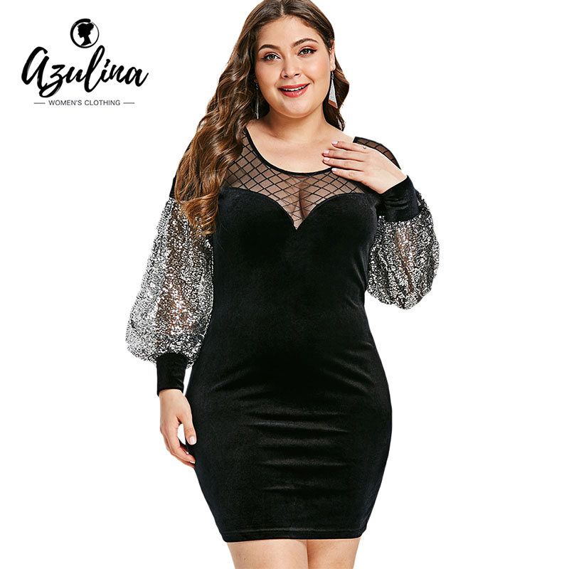 18309ca467 Detail Feedback Questions about AZULINA Plus Size Mesh Insert Sequins  Velvet Dress Women Dresses Big Size Bodycon Dress Vestidos Elegant Party  Mini Vestidos ...