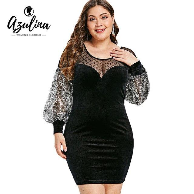 9fcc11d89ee AZULINA Plus Size Mesh Insert Sequins Velvet Dress Women Dresses Big Size  Bodycon Dress Vestidos Elegant Party Mini Vestidos