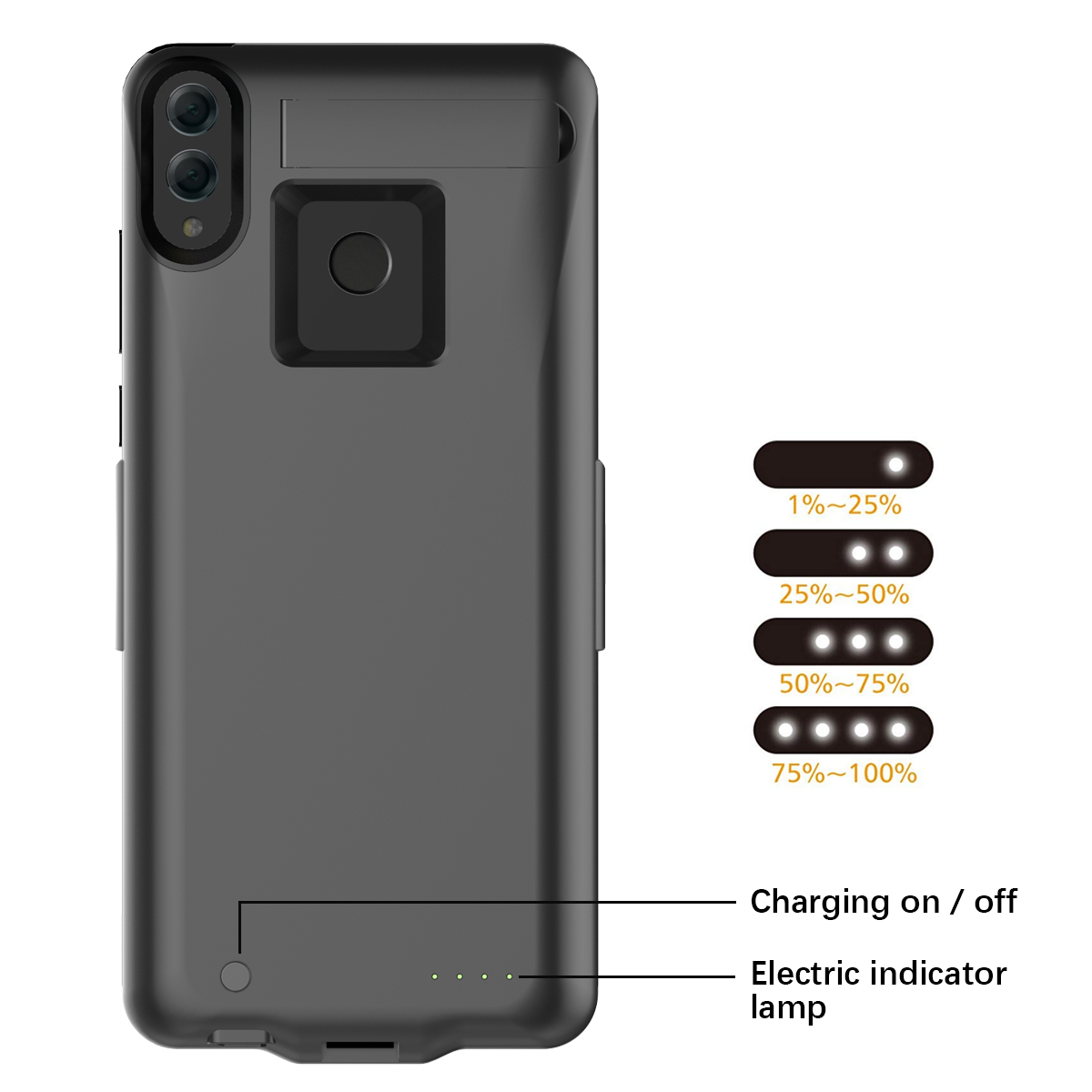 066802143fd For Huawei Honor 8X Battery Charger Case 6500mAh Extended Battery Backup  Power Bank with Kickstand Fundas for Honor 8X Cover