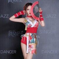 Традиционные японские кимоно платье юката женский Haori оби с традиционными японскими кимоно Карнавальная Одежда Dj танцевальный костюм H9003