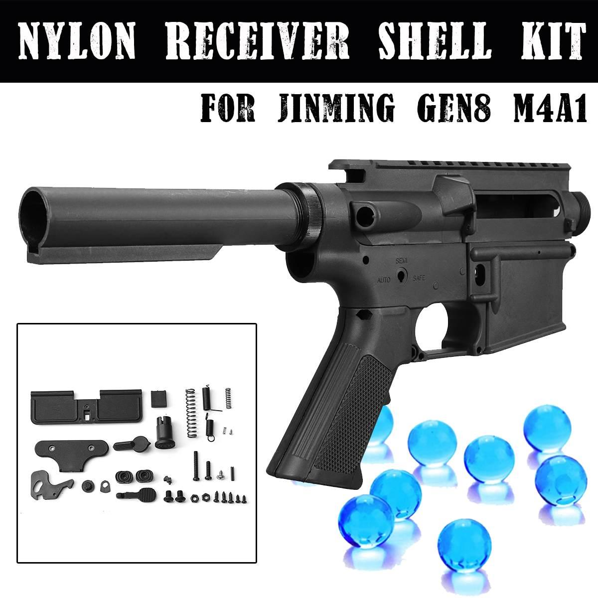 Kit de coque de récepteur en Nylon noir pour JinMing 8th M4A1 jeu blaster de balle de Gel d'eau accessoires de remplacement de pistolets à jouets