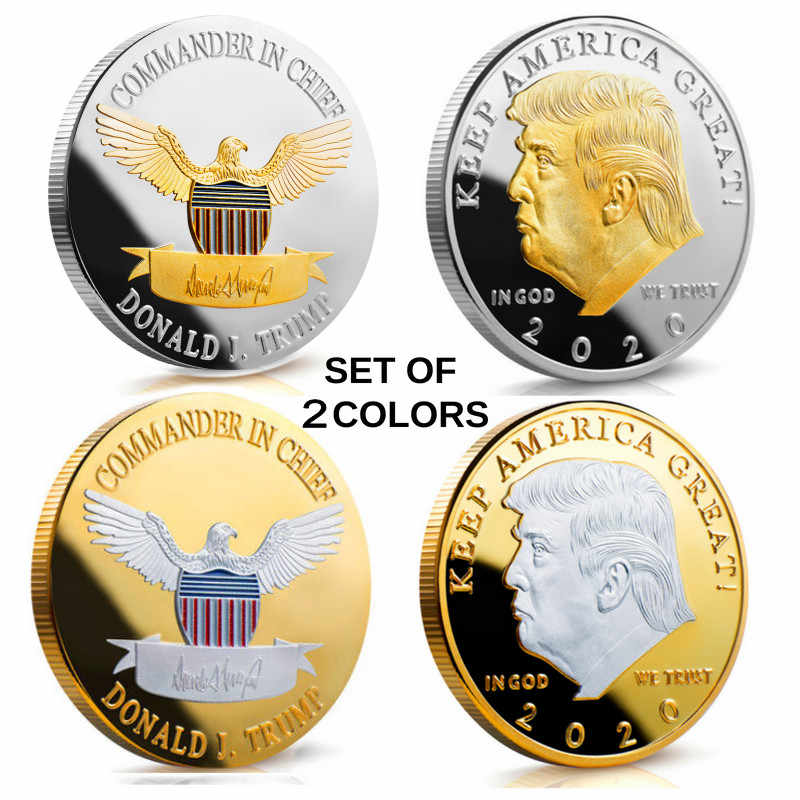 1 PCS Donald J Trump 2020 KEEP AMERICA GREAT! Proof เช่น 40 มม. เหรียญ Gold US