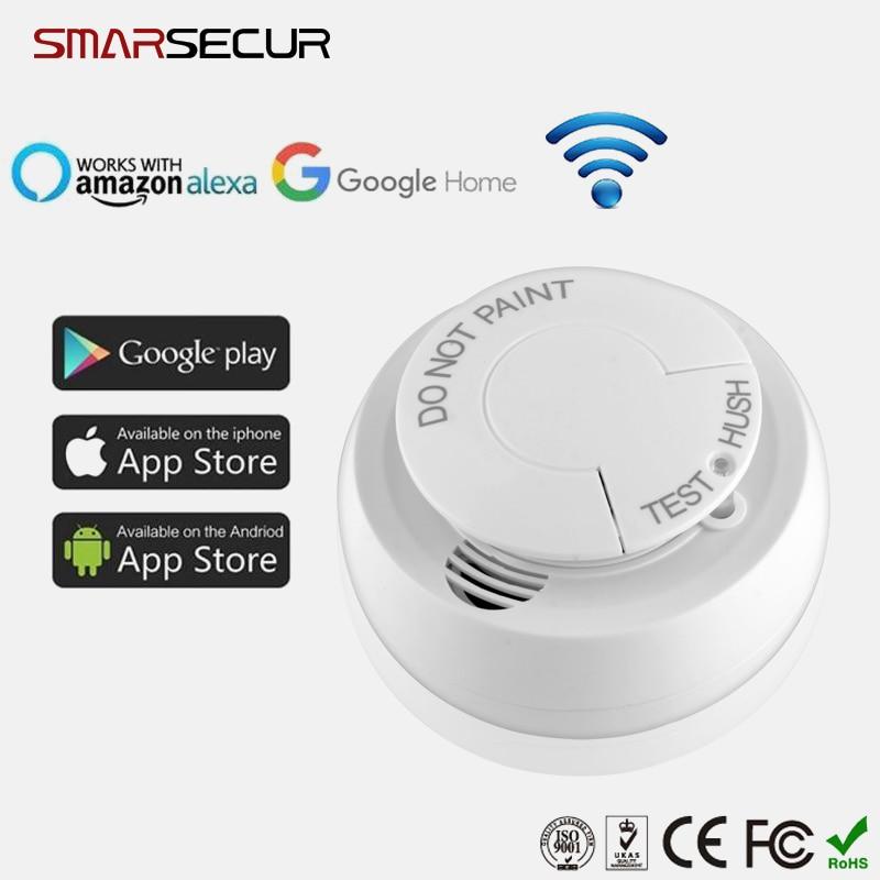 Smarsecur Wireless Wifi Smoke Detector Fire Smoke Sensor Home Safe Security App Control