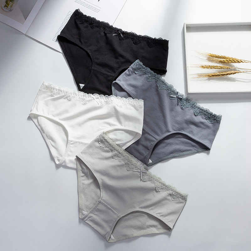 Cotton Underwear Briefs Sexy Women Lace Bow Panties Solid Breathable Lingerie Briefs Mid-waist Underwear Female Panties M L XL