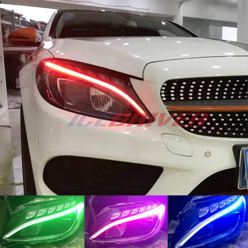 Дневные ходовые огни Icedriver для Mercedes Benz C class DRL RGB, многоцветсветодиодный светодиодные панели w205 s205 c205 a205 AMG c 63 2014-2019, дневные ходовые огни