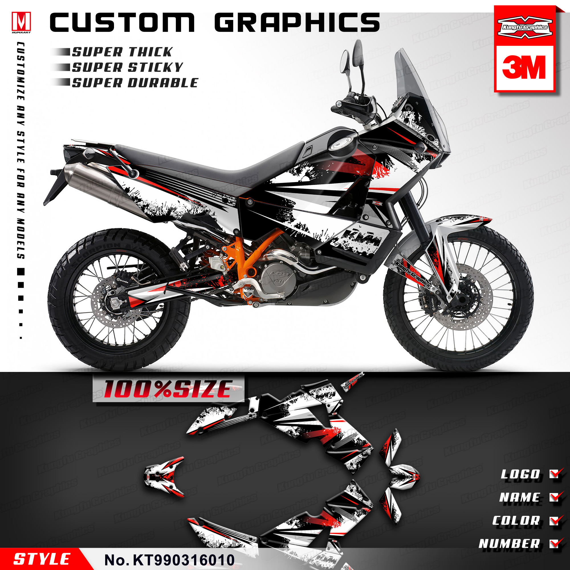 Stickers Dekor-Kit Kungfu-Graphics-Vehicle Adventure KTM Wraps White Black for 2003 Style-No.-Kt990316010