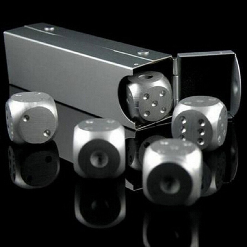 5pcs Stainless Steel Whisky Dice Stones Ice Cubes Bucket Reusable Chilling Stones for Whiskey Wine, Keep Your Drink Cold Longer