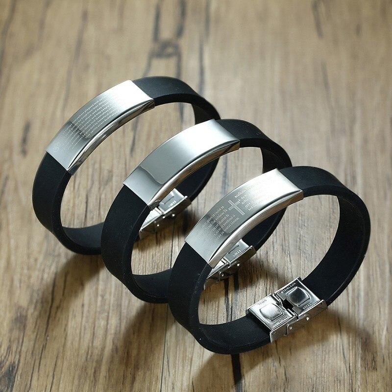 Custom Silicone Bracelet Men Rubber Brands Personalized ID Cross Engraved Male Wrist