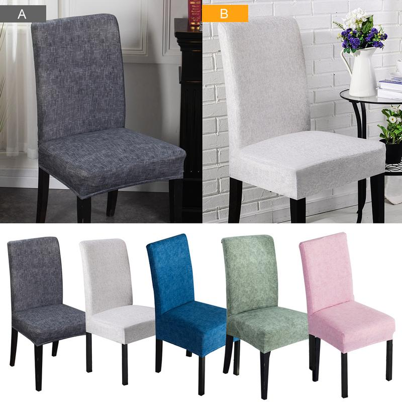 Solid Color Dining Room Chair Cover Spandex Stretch Polyester Seat Cover Geometric Anti-dirty Chair Protective Case