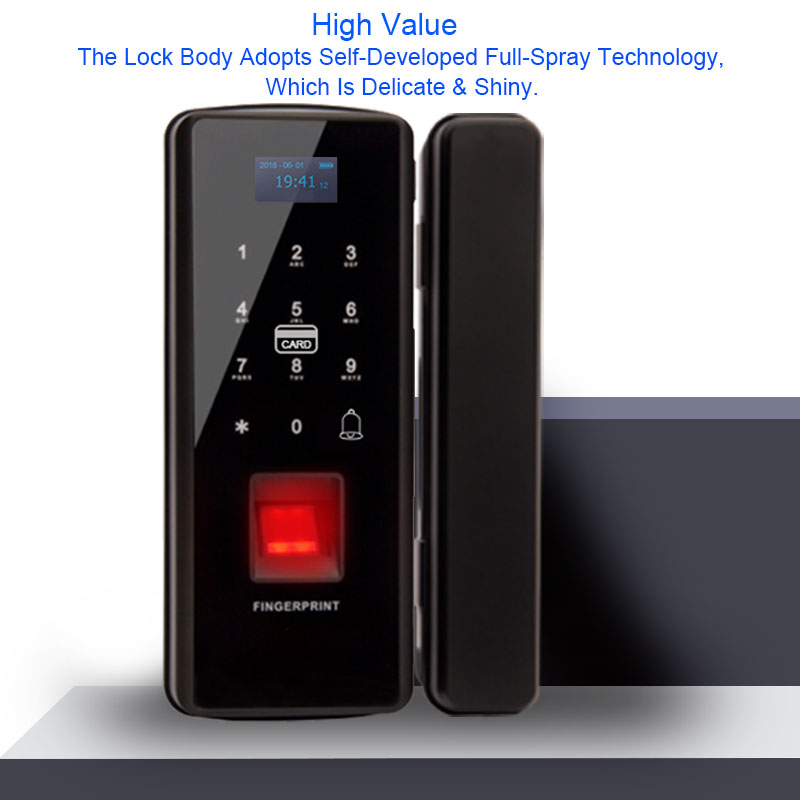 Glass Door Lock Electric Fingerprint Lock Electronic Digital Door Lock With Touch Keypad Smart Card Remote Control Office Home