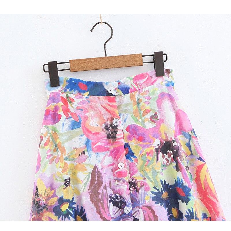 Long Skirts Womens 2019 Floral Print A-line Jupe Femme Summer High Waist Maxi Skirt