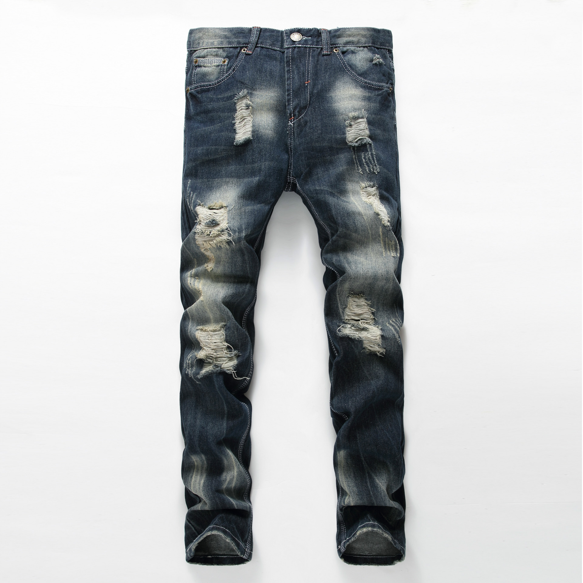 Slim Fit West Jeans Trousers Men Torn Denim Jeans Fashion Jean Homme