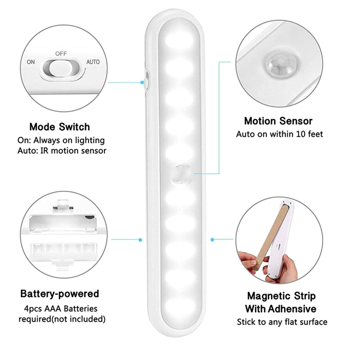 20 LED Portable Wireless Cabinet Night Light Motion PIR Sensor Closet Under Lamp