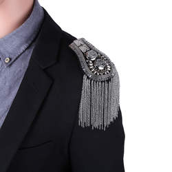 2 шт. унисекс для женщин плеча погон мужчин Винтаж кисточкой звено цепи плеча панели знак плечевая брошь костюм вечерние