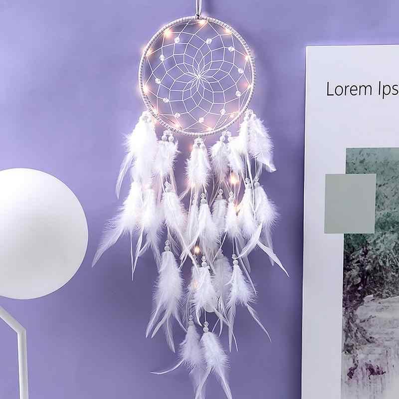 Свадебные украшения Ловец снов огни перья ручной тканые украшения день рождения Выпускной девушка подарок подвеска на стену, в автомобиль Декор