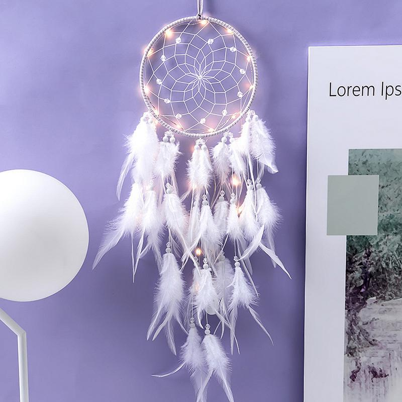 Home Decoration Dream Catcher With Lights Feathers Hand-Woven Ornaments Birthday Graduation Gift Wall Hanging Decor For Car