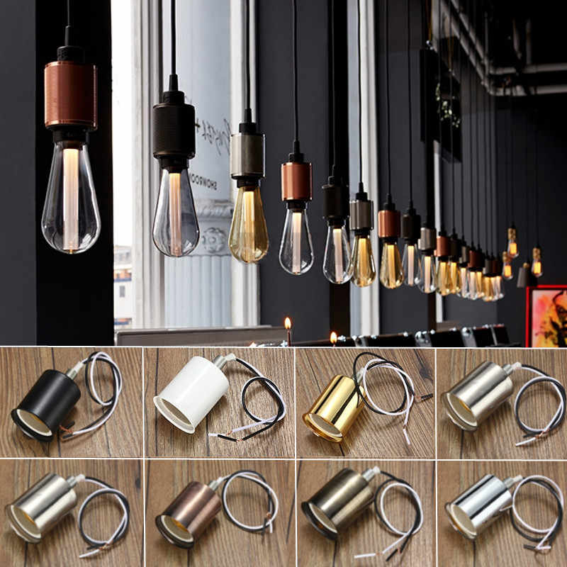 Hot 220V Lamp Base E27 Vintage Retro Antique Edison Ceramic Screw Bulb Hang Socket Lamp Base Holder Light Fitting With Wire