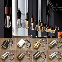Hot 220V Lamp Base E27 Vintage Retro Antique Edison Ceramic Screw Bulb Hang Socket Lamp Base Holder Light Fitting With Wire(China)