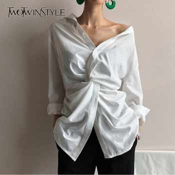 TWOTWINSTYLE Casual White Women's Blouse Off Shoulder V Neck Waist Cross Long Sleeve Loose Korean Top Female Clothes Spring 2019 - DISCOUNT ITEM  39% OFF All Category