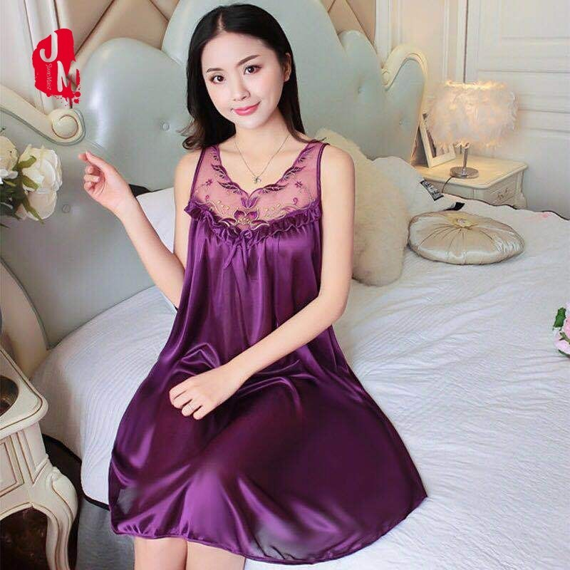 Ladies Sexy Nightdress Silk V-neck Solid Sleepwear Lingerie Lace Babydoll   Nightgown   Sleeveless Women   Sleepshirt   Silk   Nightgown