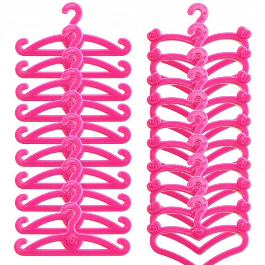 10pcs Pink Plastic Mini Hangers Doll Clothes Pretend Play Dollhouse Accessories Heart Shape Barbie Clothes Drying Racks Hangers