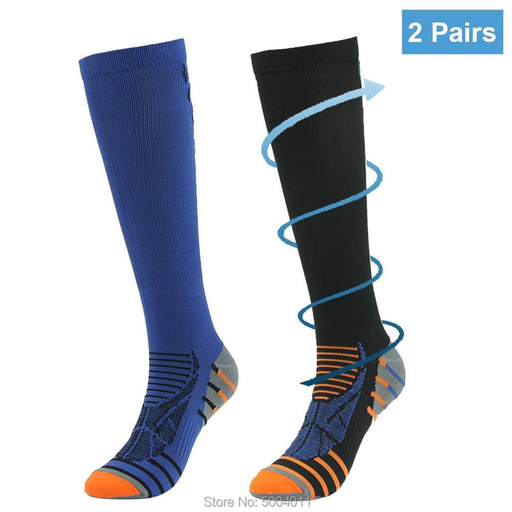 Medias de compresión hasta la rodilla para hombre y mujer, medias deportivas de viaje, para embarazo, para atletas, para correr, Edema, venas varicosas, de 10-20mmHg, 2 pares