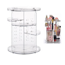 Makeup Organizer 360 Rotating Adjustable Storage Box Plastic Clear Acrylic/Transparent Box Jewelry Necklace Nail Polish Cosmetic