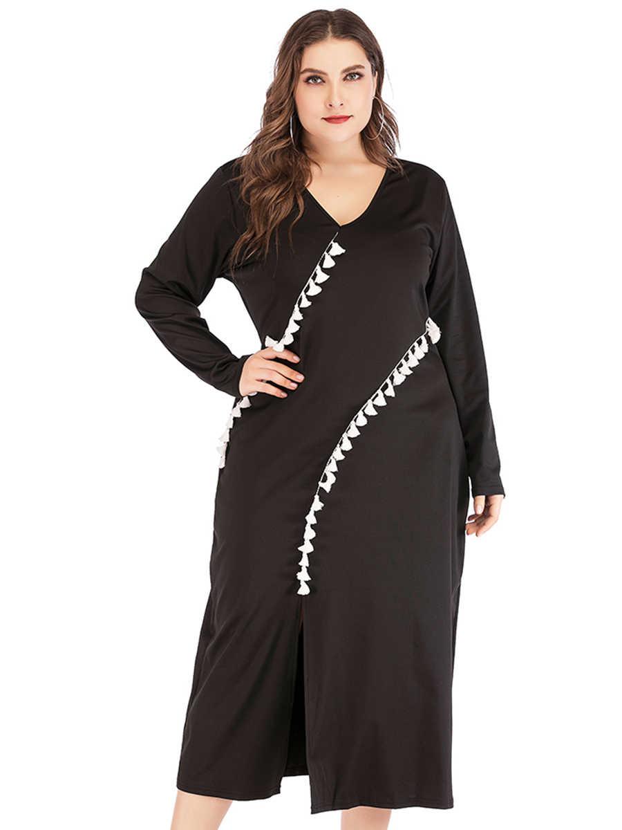Платья женские повседневные стиль весна осень плюс размер v-образным вырезом с длинным рукавом кисточкой миди платье Сплит платья