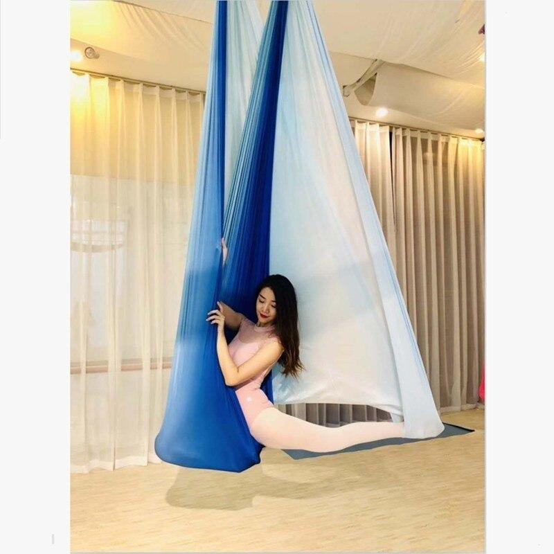 XC haute résistance coloré aérien Yoga hamac 4 m x 2.8 m Air Yoga hamac Anti-gravité Yoga ceintures pour exercice Yoga seulement tissu