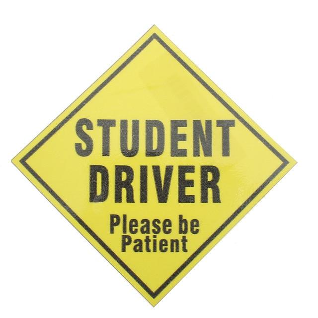 Etiqueta engomada del vinilo de la seguridad del conductor del estudiante de 138 cm x 138mm etiqueta de la escuela adolescente amarillo resistente al desvanecimiento resistente a los arañazos