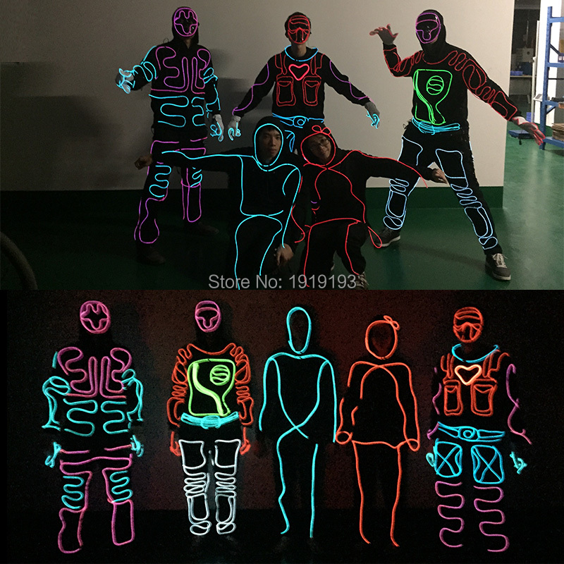 11 Style New Arrive Diy Led Suits Light Up Hoodie El Wire Clothes Glowing Holiday Costume Diy Party Holiday Lighting Holiday Lights Wire Lightslight Hoodies Aliexpress