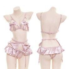 Сексуальная сорочка без шапочки Babydoll с v образным вырезом и лямкой на шее, атласный комплект нижнего белья, прозрачная сетчатая одежда для сна, сексуальное женское белье