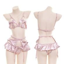Sexy Cupless Chemise Babydoll V Neck Halter Satin Lingerie Set Sheer Mesh Sleepwear Sexy Lingerie For Women