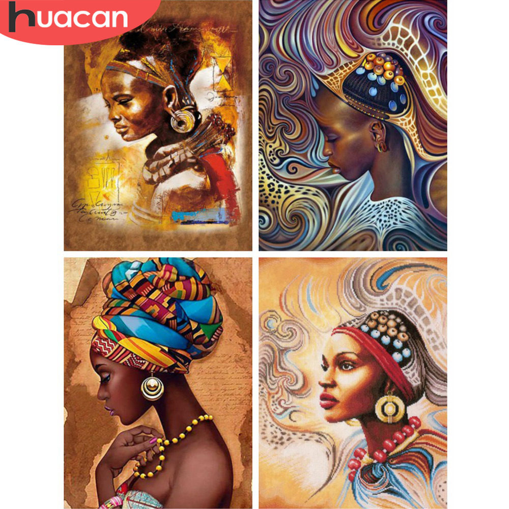 HUACAN Diamond Embroidery Portrait DIY Diamond Painting South African Girl Full Square Drill Home Decor Picture Of RhinestoneHUACAN Diamond Embroidery Portrait DIY Diamond Painting South African Girl Full Square Drill Home Decor Picture Of Rhinestone