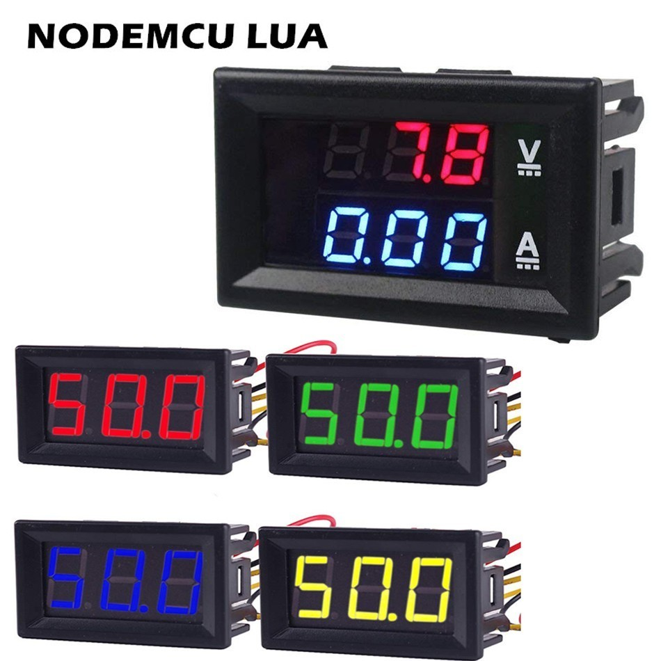 0.56inch Mini Digital Voltmeter Ammeter DC 100V 10A Voltmeter Current Meter Tester Blue+Red Dual LED Display Green Red Yellow