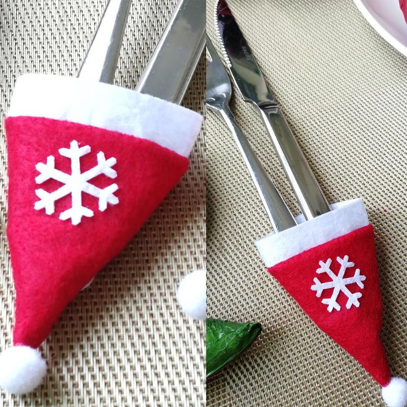 Snowflakes Christmas Hat DIY Tree Ornaments <font><b>Knife</b></font> Fork Pouch Holder Gift Kids Creative DIY Sticker Hat Children Christmas Caps image