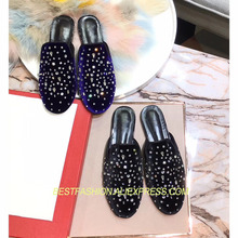 Spring Summer Shoes Woman Casual Crystal Velvet Mules Flats