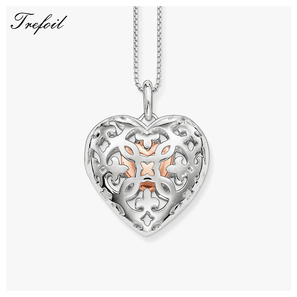 Link Chain Necklace Heart Locket, Fashion 925 Sterling Silver Jewelry Romantic Gift For Women Girls 2018 New Collane Donna locket