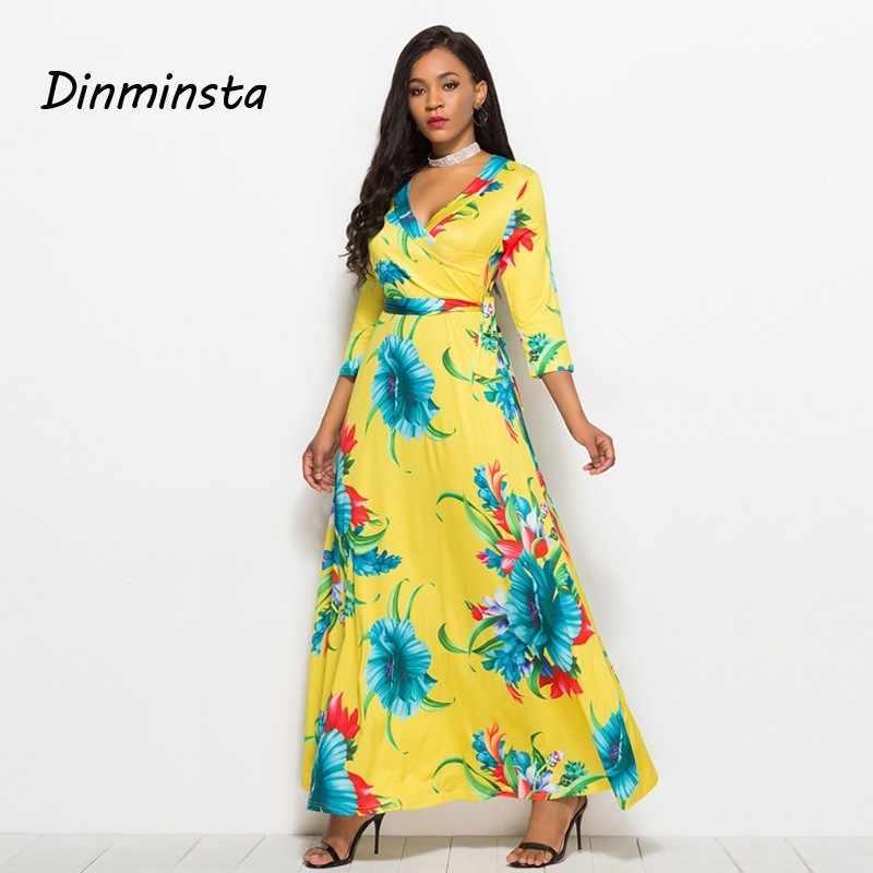 189fad85d17 ... Women Floral Print Loose Long Dress Bohemian Floor Length Casual Frocks Female  Plus Size 2019 New Spring Boho Dresses on Aliexpress.com
