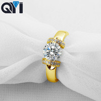 QYI Women Jewelry 14K Solid Yellow Gold Rings Engagement 1.25 ct Round Cut Sona Simulated Diamond Ring For Wedding Jewelry Gift