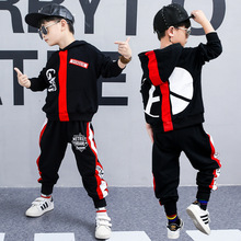 Children's clothing spring and autumn 2019 new boy suit trend hooded letter sweater + pants 3-16 years sleeve kids 2018 minecraft pants long sleeve suit boy clothing jacket spring and autumn hooded sweater suit children s t shirt 6 14y