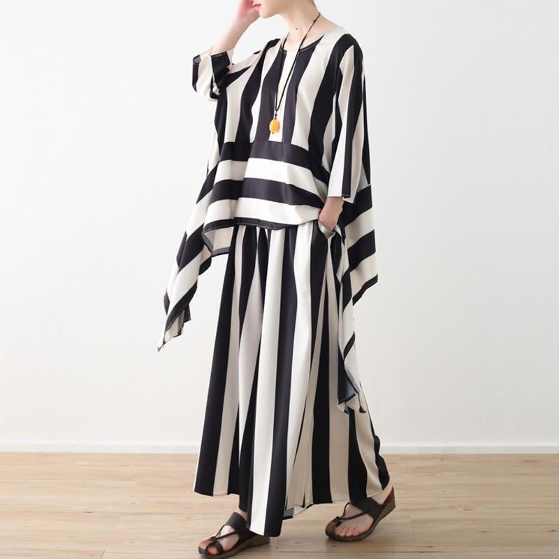 LANMREM 2019 Spring Summer New Fashion Wide Striped Asymmetry Hem Shirt Elastic Waist Long Pants Women