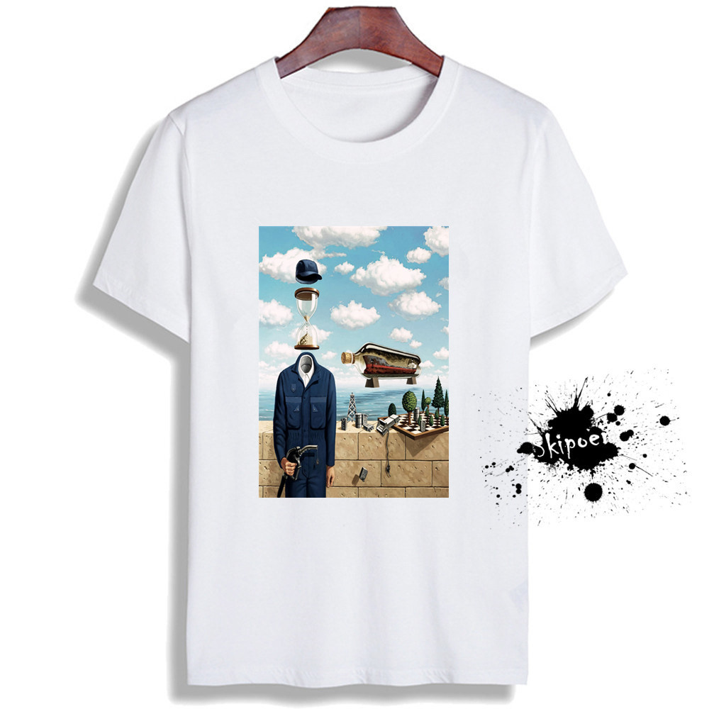 Fashion Short Sleeve T Shirt Vintage Surreal Art Printed 100% Cotton Top Tees  Casual O Neck T-Shirt Unisex Female TShirt