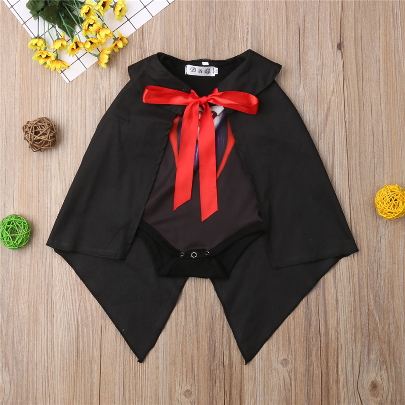 0-18M Fashion Toddler Baby Boy Girl   Romper   Tops+Cloak Cosplay Dark Earl Vampire Party Costumn Set Clothes Outfits