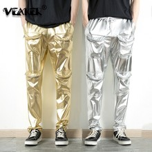 2019 New Men's Golden Pants Show Party Clothing Silver Cargo