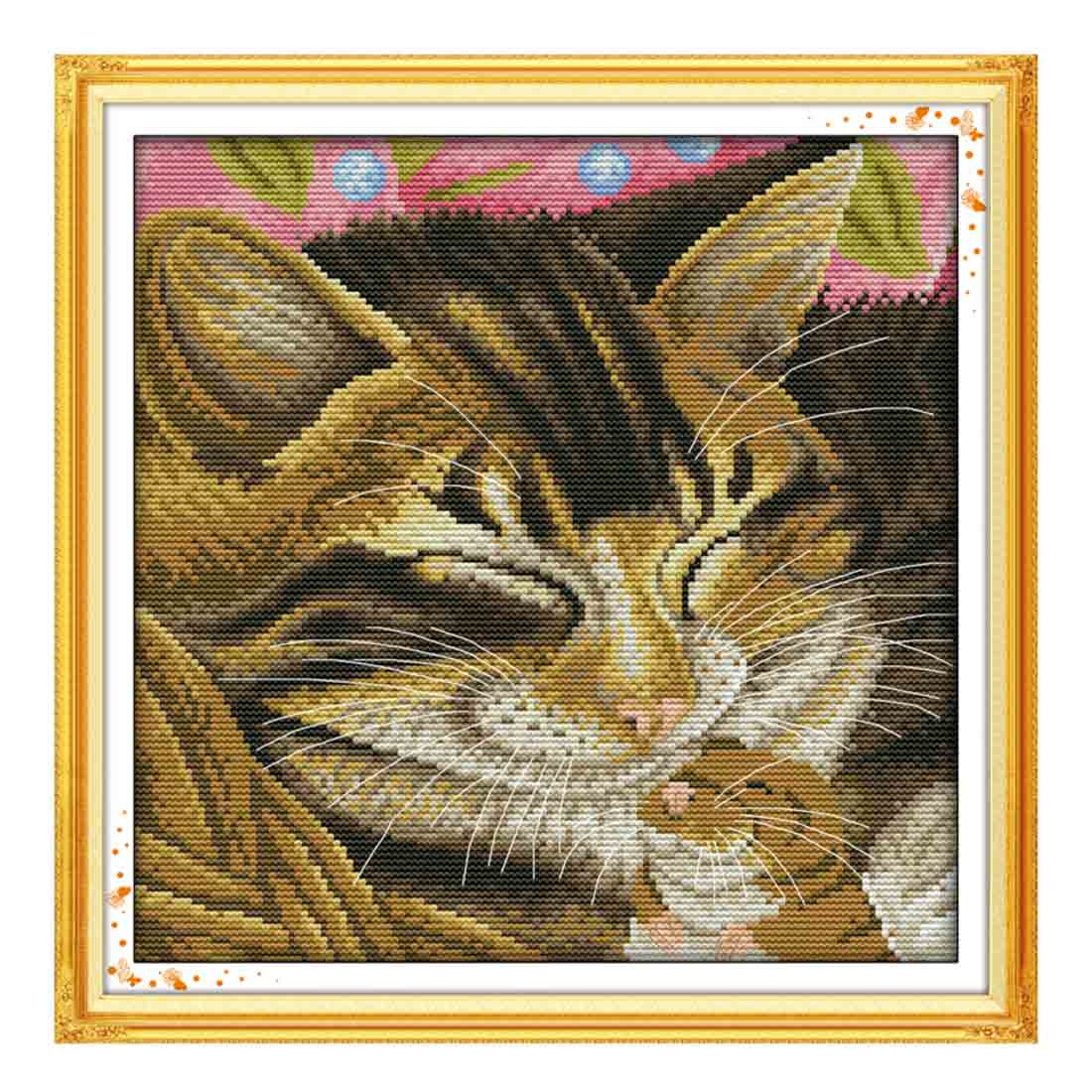 31 X 31cm 14CT 2 Strands Printing Cross Stitch Kits DIY Decorative Cross-stitch Craft Toys Kit (Without Frame) - Snicker Cat