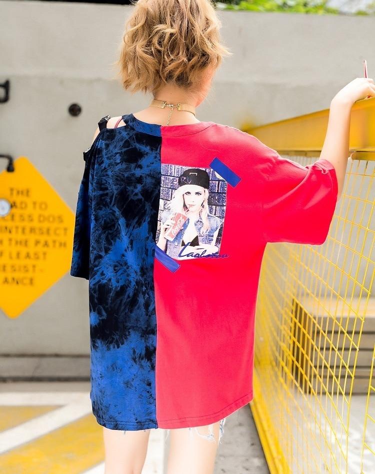 Bleu Filles Femmes Patchwork Courtes Rond Zld500 Red T Irrégulier Motif Mo Rouge Manches Imprimé shirt Hauts Qing 2019 Col Wq48PznYR